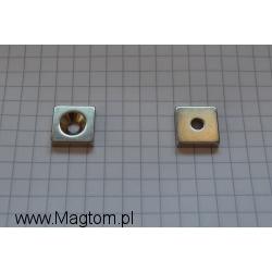 Magnes neodymowy MPŁ 12x12x3 [N38] stożek 7 mm do 3,5 mm