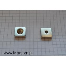 Magnes neodymowy MPŁ 15x15x5 [N38] stożek 8 mm do 4 mm