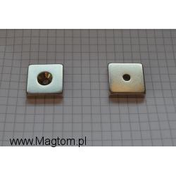 Magnes neodymowy MPŁ 20x20x5 [N38] stożek 8 mm do 4 mm